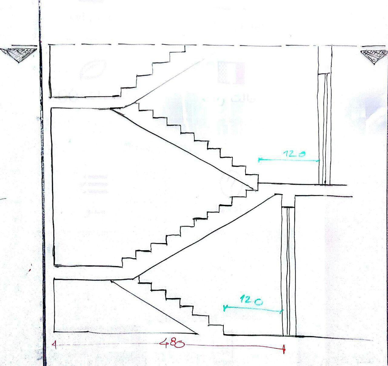 برش صحیح در صورت اختلاف تعداد پله در دو طبقه روی هم